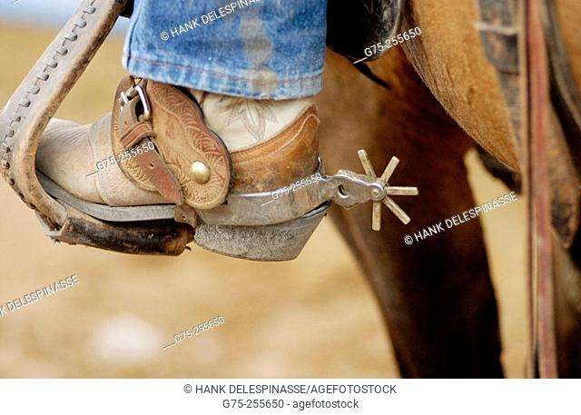 Boot with spur in stirrup