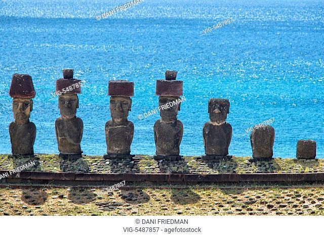 Moai statues on Ahu Nau Nau at Anakena Beach on Easter Island, Chile. - EASTER ISLAND, CHILE, 17/03/2010
