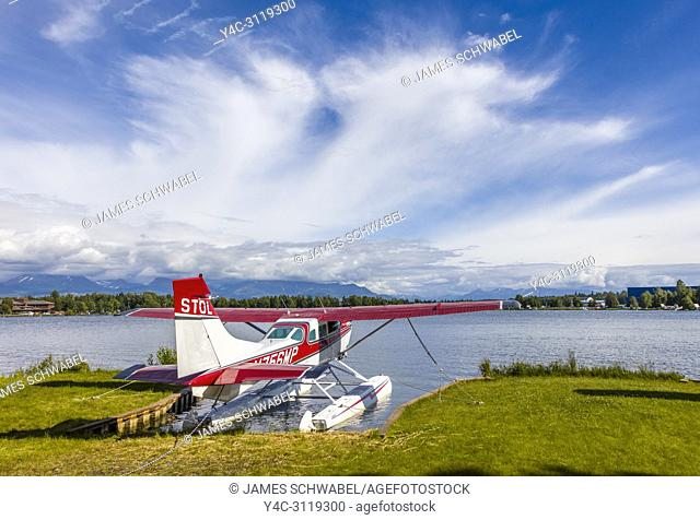 Seaplane or floatplane at Lake Hood Seaplane Base the world's busiest seaplane base located in Acnhorage Alaska