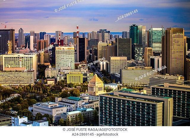 Japan, Tokyo City, Diet Bldg., Toranomon area skyline