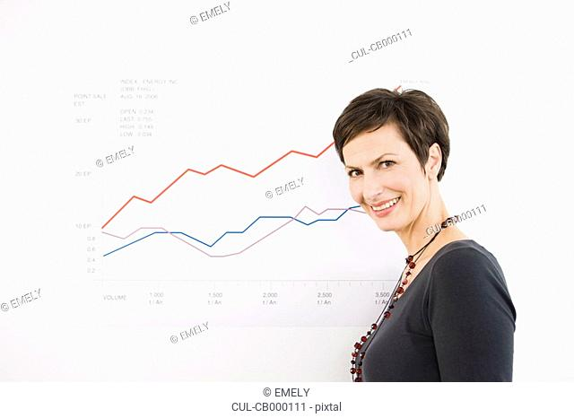 Woman in front of a chart