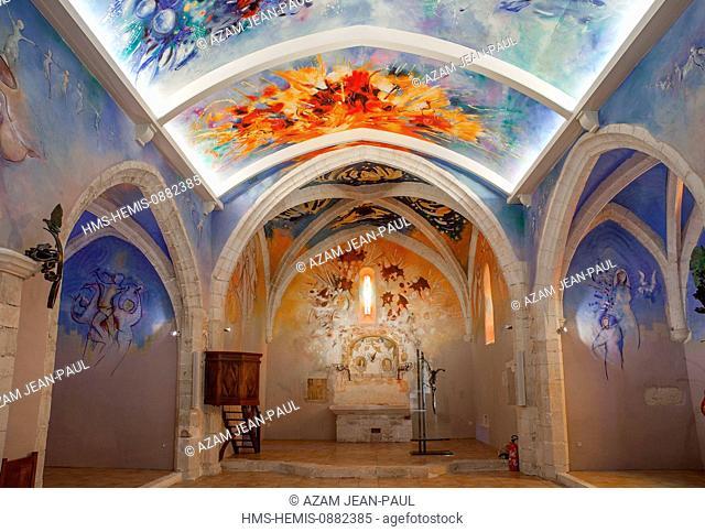 France, Tarn, Castelnau de Levis, Carla church, frescoes by Casimir Ferrer