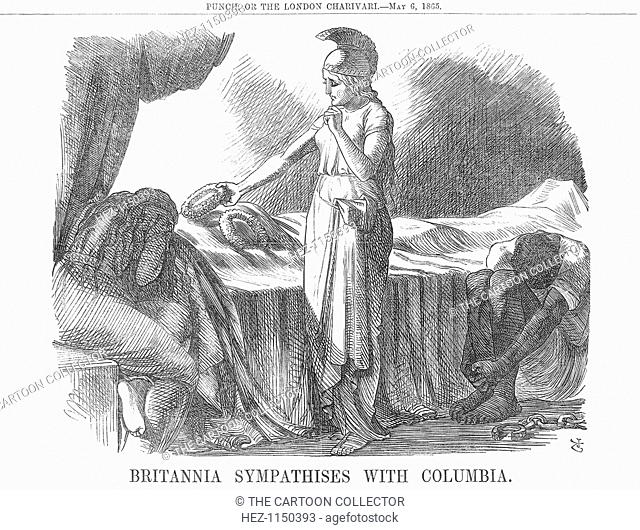 'Britannia Sympathises with Columbia', 1865. Only days after the long and bitter Civil War in America had finally come to an end