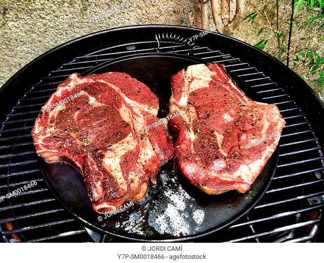 Raw steaks on barbeque grill . Toulouse. Haute Garonne. France