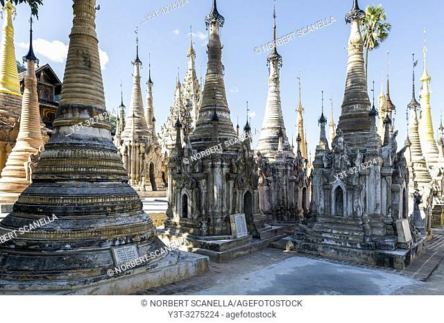 Myanmar (ex Birmanie). Sankar lake. Shan state. Temple of Takhaung Mwetaw, and its 236 stupas some of which date back to the 18th century
