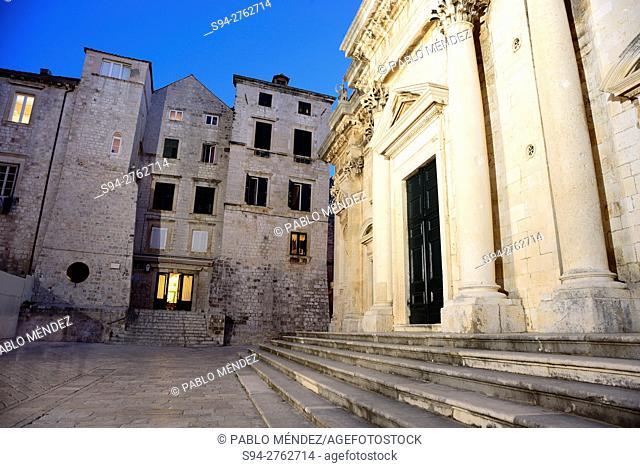 Marina Drzica square, Cathedral of Dubrovnik, Croatia