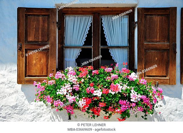 Germany, Bavaria, Isar valley, Krün, farmhouse, window, floral decoration