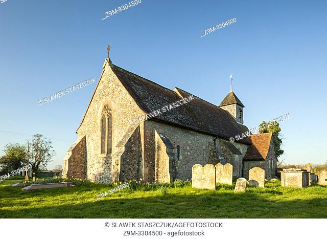 Early spring at Binsted village church in West Sussex, England