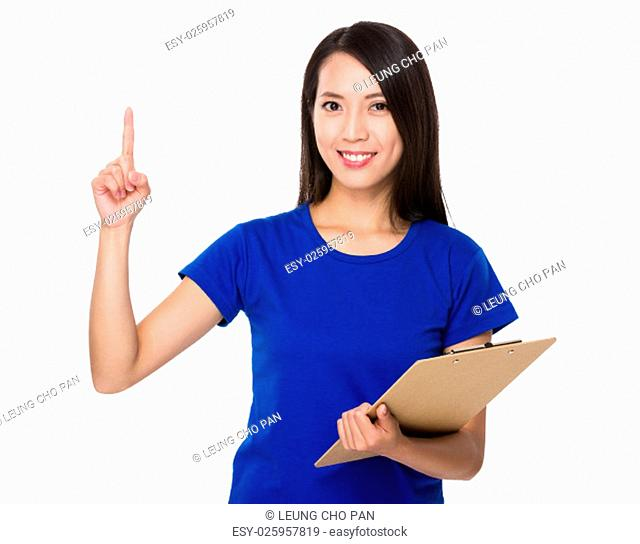 Asian Woman hold with clipboard and finger point up