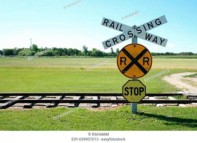 Road sign level crossing Stock Photos and Images | age fotostock