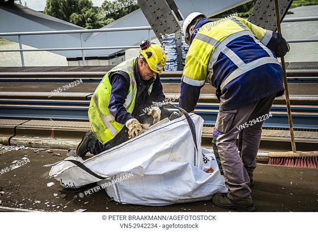 Repairing rail tracks in Moerdijkbrug (Moerdijk bridge). Netherlands