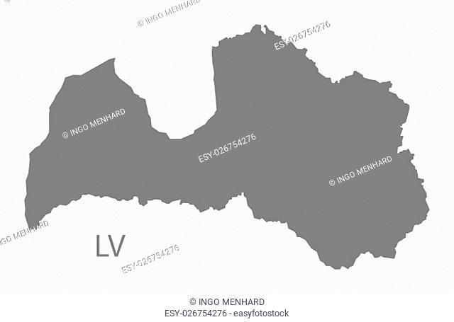 Latvia Map grey