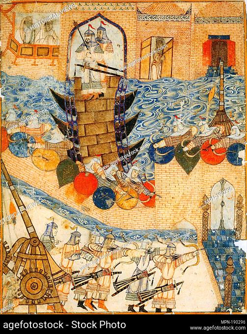 Conquest of Baghdad by the Mongols 1258. Left part of a double-page illustration of Rashid-ad-Din's Gami' at-tawarih. Tabriz (?), 1st quarter of 14th century