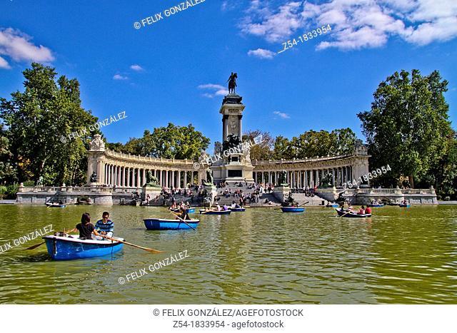 Boating on the lake in Retiro Park, Madrid, Spain