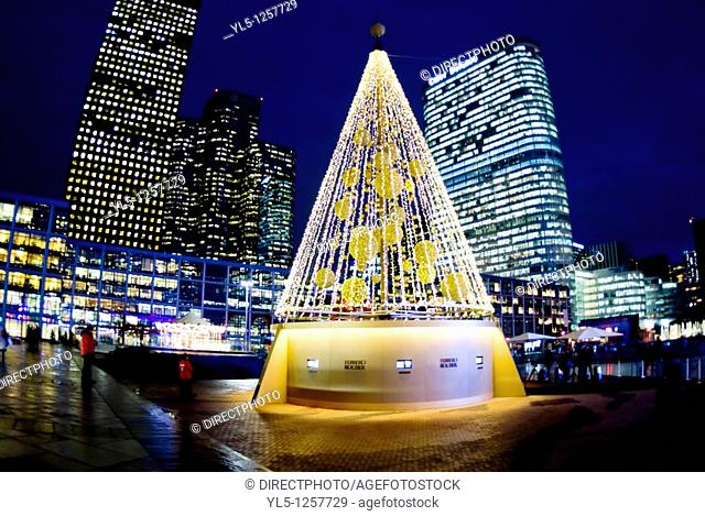 Paris, France, French Christmas Tree in La Défense Business Center, at Night
