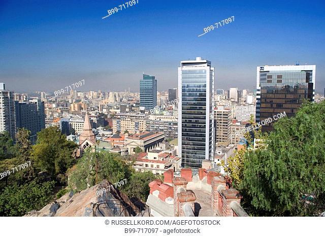 Downtown Skyline From Cerro Santa Lucia, Santiago, Chile
