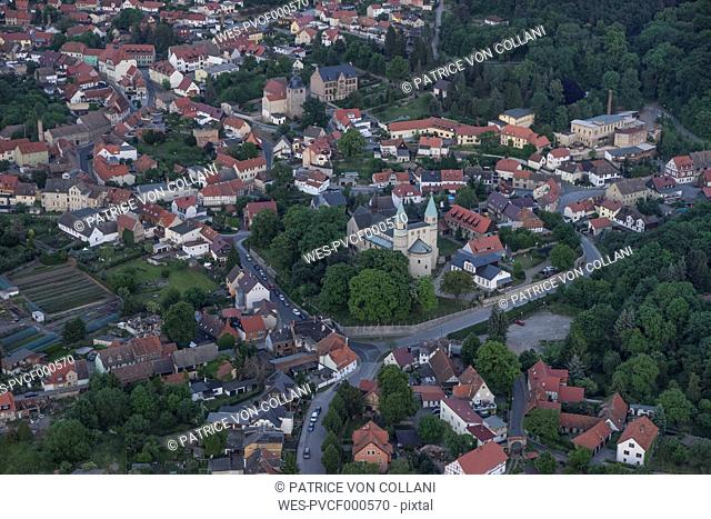 Germany, aerial view of Gernrode with collegiate church St. Cyriakus in the evening