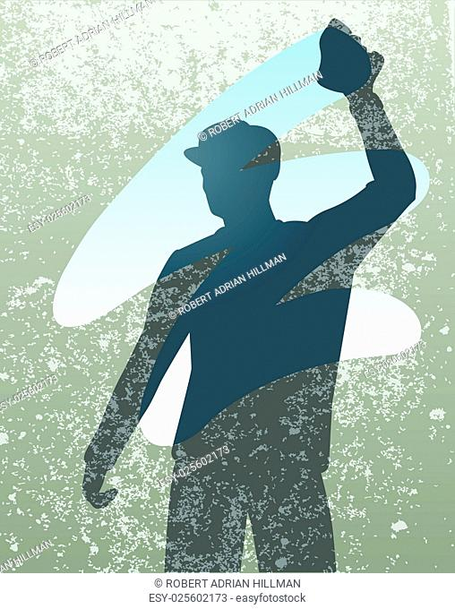 Editable vector silhouette of a man cleaning a window