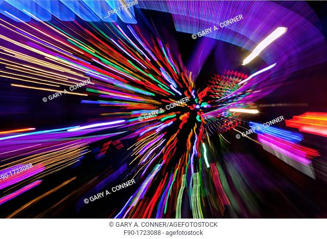 Neon signs zoom blur