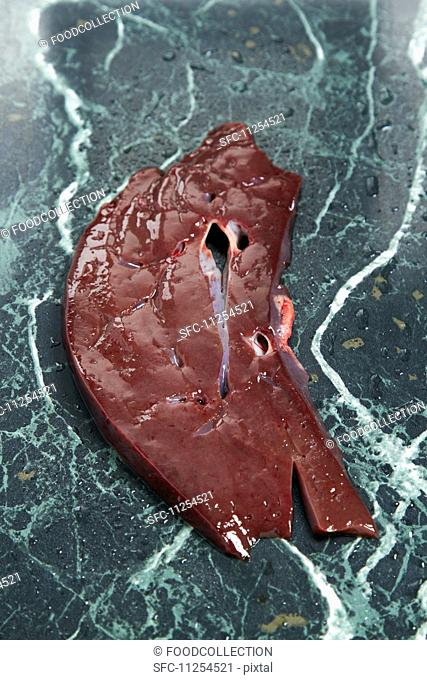A slice of calf's liver