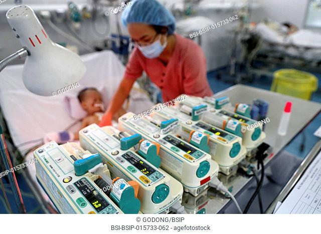 Tam Duc Cardiology Hospital. Vietnamese child suffering from heart diseases. Intensive care unit. Ho Chi Minh City. Vietnam