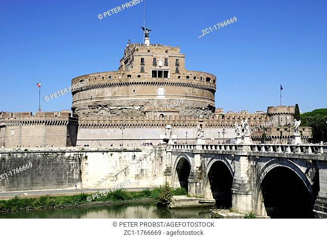 Angel castle with the Angel bridge at the Tiber in Rome - Mausoleum of Hadrian - Caution: For the editorial use only  Not for advertising or other commercial...