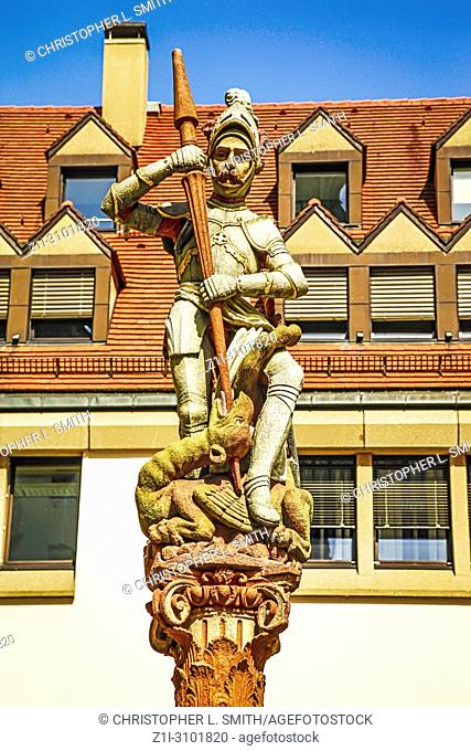Sculpture of George and the dragon in Ulm, Germany
