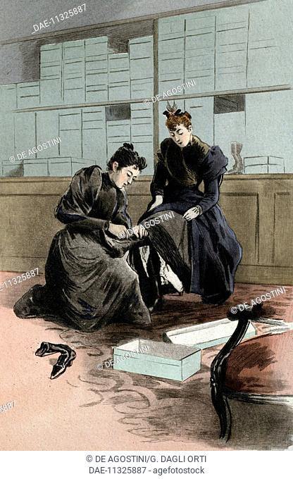 Shoe stop assistant, engraving by Frederic Masse', painting by Pierre Vidal (1849-1929), from La Femme a Paris nos contemporaines