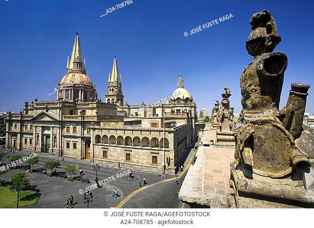 Guadalajara City. Old Guadalajara City. Plaza de Armas Square and the Cathedral. Mexico