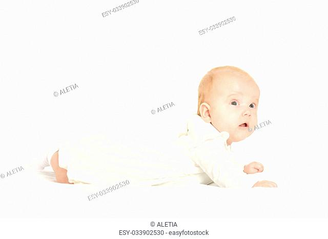 Adorable baby girl on blanket on a white background