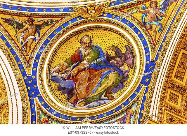 Saint Mark Eagle Gospel Writer Evangelist Mosaic Angels Saint Peter's Basilica Vatican Rome Italy. Mosaic right below Michaelangelo's Dome