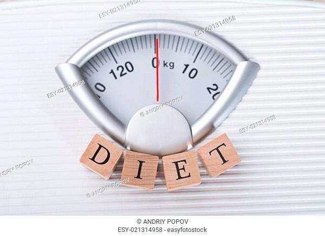 Diet Blocks Arranged On Weighing Scale