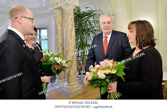 Czech President Milos Zeman (2nd right) and Prime Minister Bohuslav Sobotka (left) (Social Democrats, CSSD) had the traditional New Year's luncheon along with...