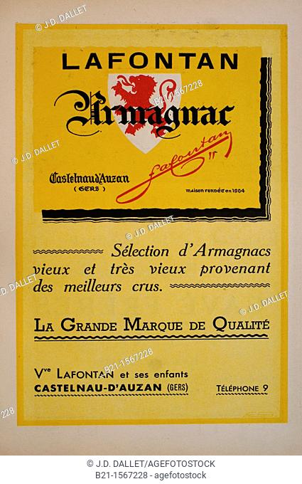 Ad in a magazine in the 1950's: Lafontan Armagnac from Castelnau-d'Auzan, Gers, Midi-Pyrenees, France