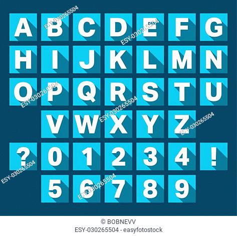 Alphabet font flat icons design. Letters and numbers template. Vector illustration