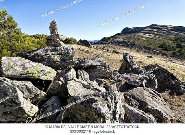 Milestones at The Parrejon. Sierra Norte. Guadalajara. Spain