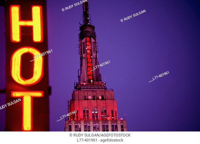 Empire State building and neon sign, New York City. USA