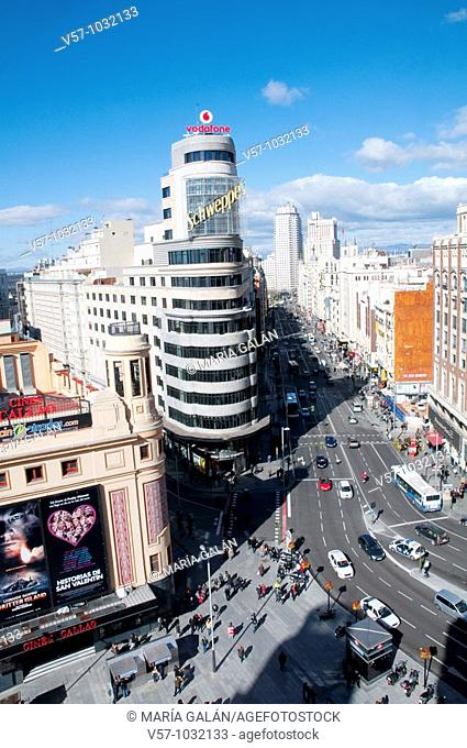 Gran Vía street, view from above. Madrid, Spain