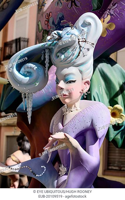 Papier Mache figure of well dressed lady in the street during Las Fallas festival