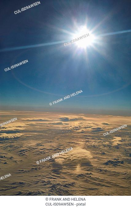 Aerial view of Mongolia from above the clouds