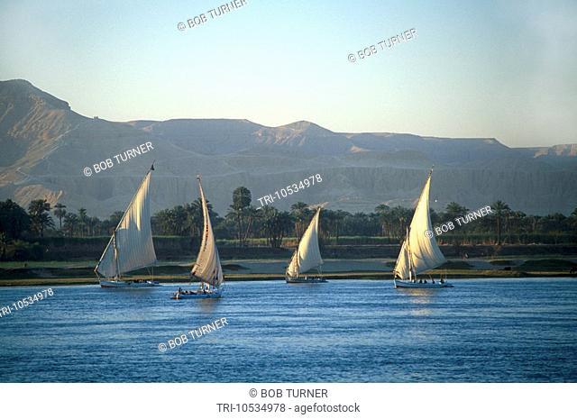Luxor Egypt Feluccas on Nile