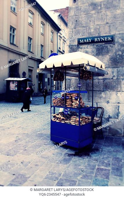 Selling pretzels in the old town