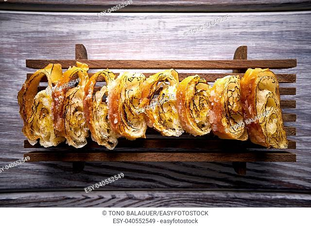 Sliced grilled pastry in a row fartons from Mediterranean