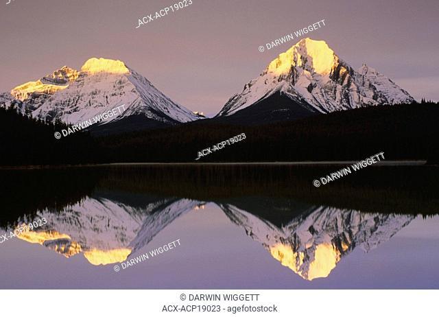 Whirlpool Peak and Mt. Fryatt from Leach Lake, Jasper National Park, Alberta, Canada