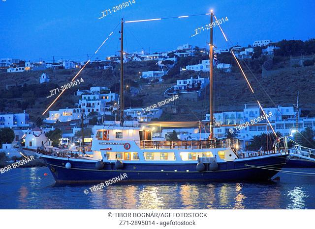 Greece, Cyclades, Mykonos, harbour, sailing ship,