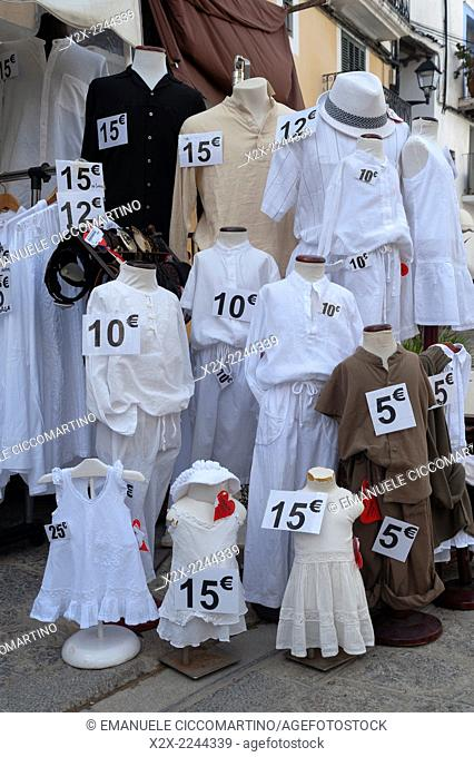 Mannequin dressed with white clothes, Eivissa, Ibiza, Balearic Islands, Spain, Mediterranean, Europe