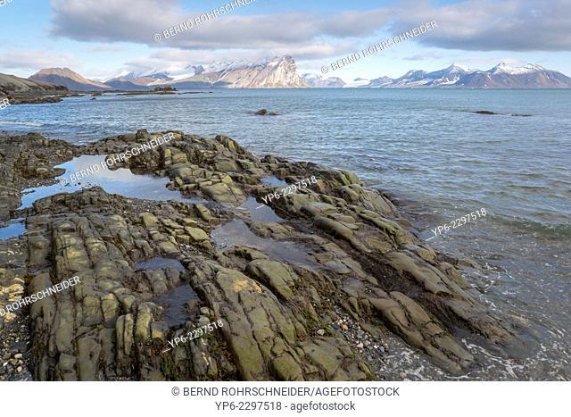 rock formations and mountains at Hornsund, Spitsbergen, Svalbard