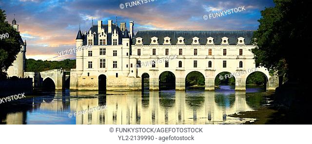 The Chateau de Chenonceau at sunset designed by French Renaissance architect Philibert de l'Orme 1555 by to span the River Char. Loire Valley