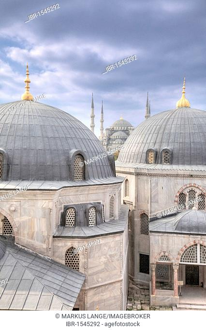 View over the domes of Hagia Sophia towards the Blue Mosque, Istanbul, Turkey