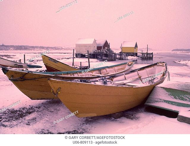 Dorys in winter at Blue Rocks, Nova Scotia, canada